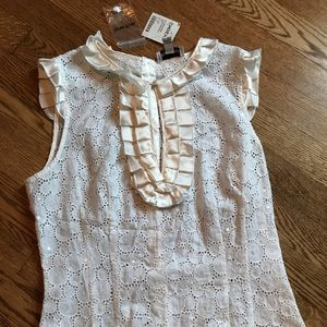 NWT Bebe Cream Lace tank with ruffles and sequins